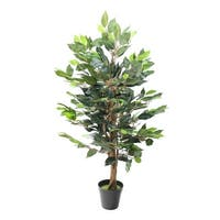 """36.5"""" Potted Artificial Decorative Silk Ficus Tree - Brown"""