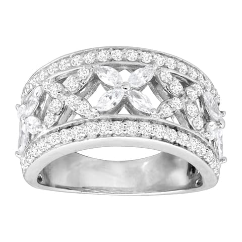 Cubic Zirconia Floral 'X' Band Ring in Sterling Silver - White