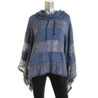 Free People Womens Crochet Trim Turtleneck Poncho Sweater - S