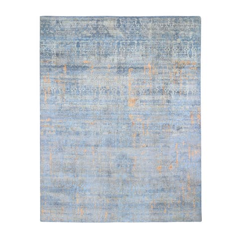 """Shahbanu Rugs Light Blue Silk with Textured Wool Abstract Dripping Design Hand Knotted Oriental Rug (8'0"""" x 10'0"""")"""