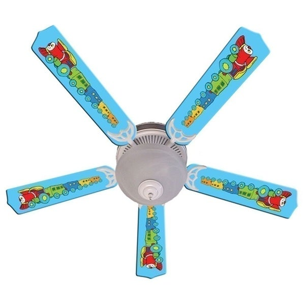 Blue Red Engine Train Custom Designer 52in Ceiling Fan Blades Set - Multi