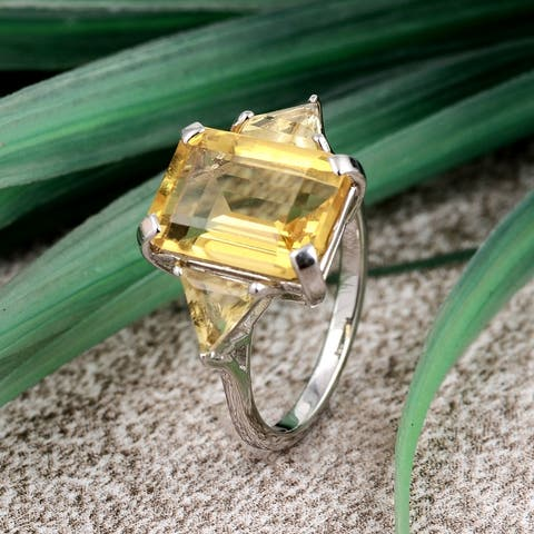 Multi Color Gemstones 925 Sterling Silver Octagon, Triangle 3-Stone Rings by Orchid Jewelry