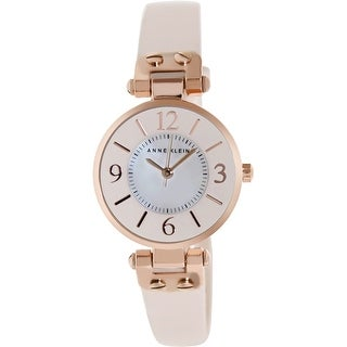 Anne Klein Women's 10-9442RGLP Mother-Of-Pearl Leather Quartz Fashion Watch