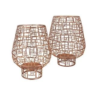 IMAX Home 75141-2  Uja 2 Piece Iron Pillar Lantern Candle Holder Set - Gold