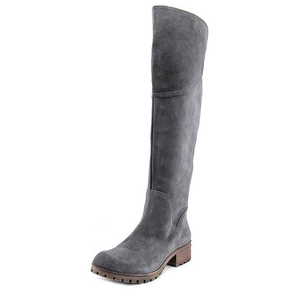 Lucky Brand Harleen Wide Calf Women Round Toe Suede Gray Over the Knee Boot