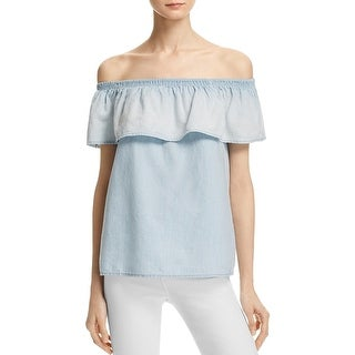 Joie Womens Vilma Casual Top Denim Ruched