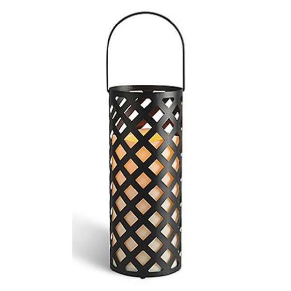 """12"""" Black Metal Criss Cross Lantern with Bisque LED Lighted Flameless Indoor/Outdoor Pillar Candle"""