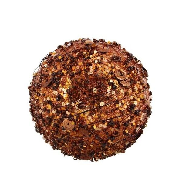 "Chocolate Sparkle Kissing Christmas Ball Ornament 4"" (100mm)"