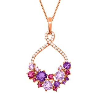 2 1/3 ct Natural Amethyst & Pink Tourmaline Pendant in 18K Rose Gold-Plated Sterling Silver