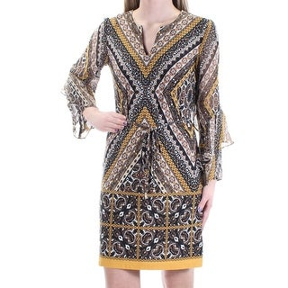 Womens Black Brown Geometric Bell Sleeve Above The Knee Sheath Dress Size: 2
