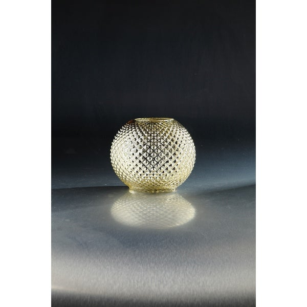 7.5 Golden Colored Embossed Circle Pattern Glass Bowl Candle Holder - N/A