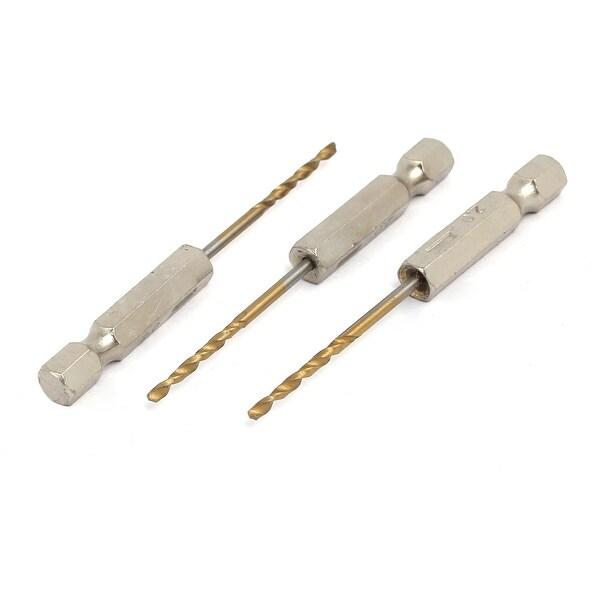 2mm Drilling Dia 2 Flutes HSS 1/4-inch Hex Shank Twist Drill Bit 3pcs