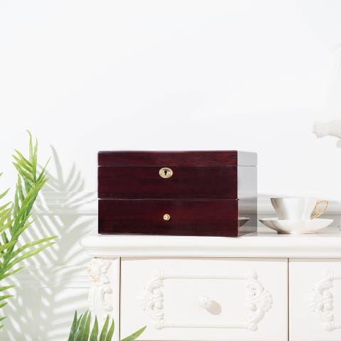 2-Layer Wooden Case Watch Display Case Jewelry Storage Organizer Gifts