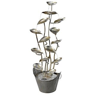 RAIN FOREST LEAVES METAL FOUNTAIN DESIGN TOSCANO water feature metal botanical