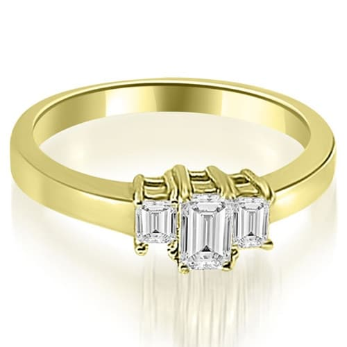 1.00 cttw. 14K Yellow Gold Three Stone Emerald Cut Diamond Ring