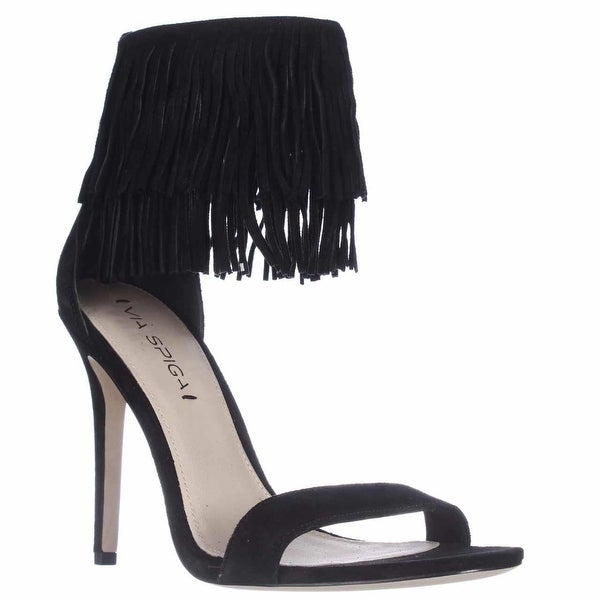 Via Spiga Tabia Fringe Ankle Cuff Sandals, Black Suede