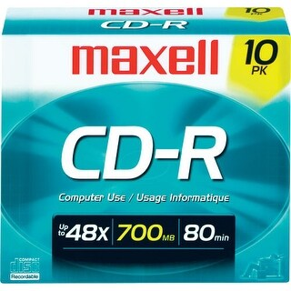 Maxell 648210 Cd-R 700Mb, 48X Recordable Disc With Slim Jewel Case Pack Of 10