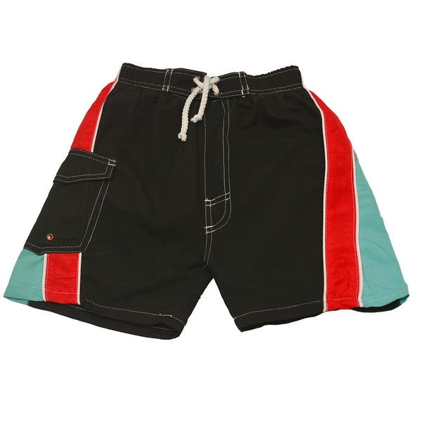 Quad Seven Little Boys Black Red Blue Paneled Drawstring Swim Trunks 2T-7