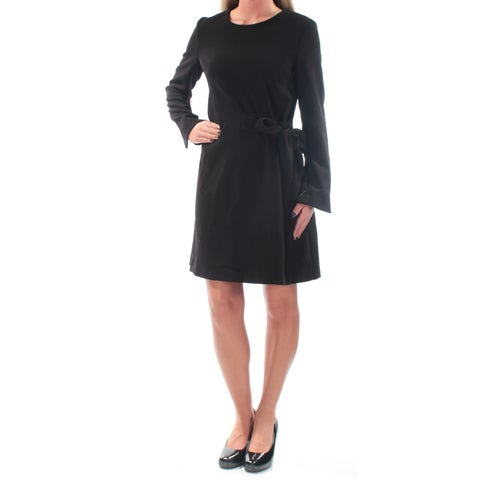 RACHEL ROY Womens Black Tie Long Sleeve Jewel Neck Above The Knee Faux Wrap Evening Dress Size: 2