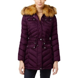 Laundry by Shelli Segal Womens Puffer Coat Down/Feather Filled Faux Fur Trim - XxL