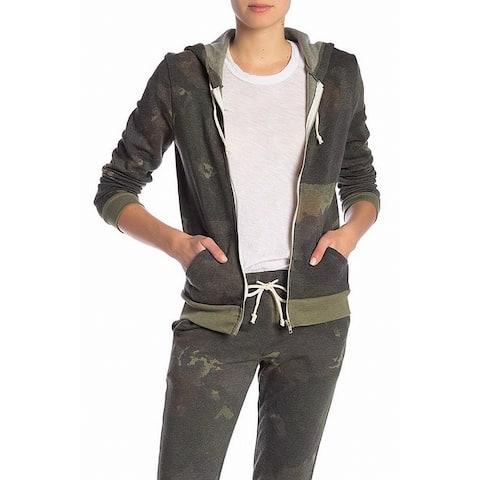 Alternative Green Women's Size Small S Fleece Camo Zip Hoodie