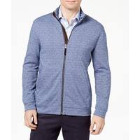 Tasso Elba Mens Large Full Zip Jacquard Knit Jacket