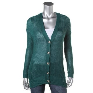 Oh MG! Womens Juniors Cardigan Sweater Open Stitch V-Neck Green S
