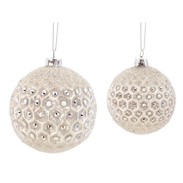 """6ct Winter Light Sparkling Champagne Frosted Jewel Glass Christmas Ball Ornaments 3.5"""" - 4.25"""""""