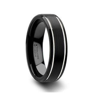 NOCTURNE Beveled Black Tungsten Carbide Band with Brushed Finish and Polished Grooves - 6mm