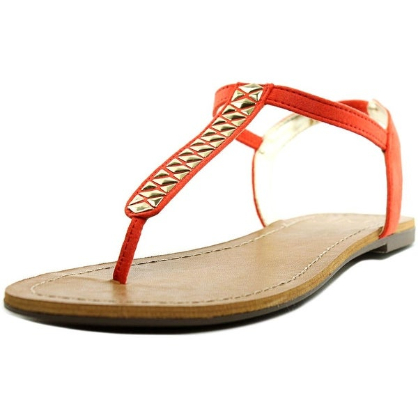 Material Girl Sage Women Open Toe Canvas Orange Thong Sandal