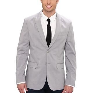 Calvin Klein CK Sportcoat Large L Monument Gray Plaid Two Buttons Blazer