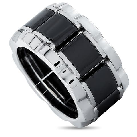 Tag Heuer Stainless Steel and Ceramic 0.007 ct Diamond Ring Size 6.75