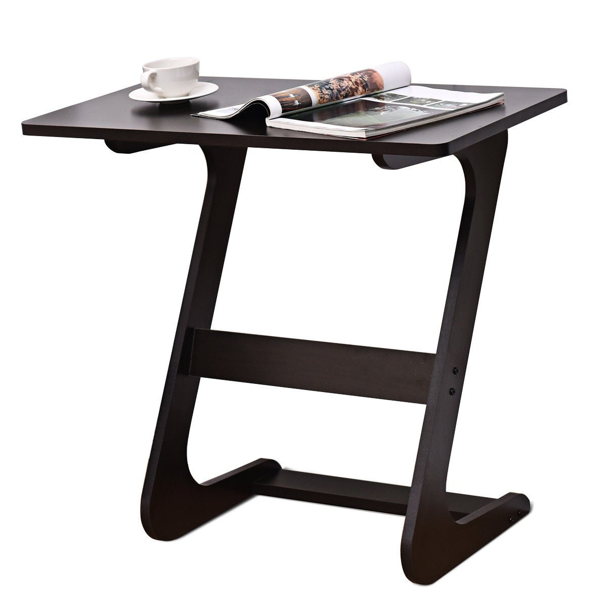 Tv Side Table.Costway Sofa Table End Side Table Console Snack Tv Coffee Tray Pc Laptop Desk Z Shape