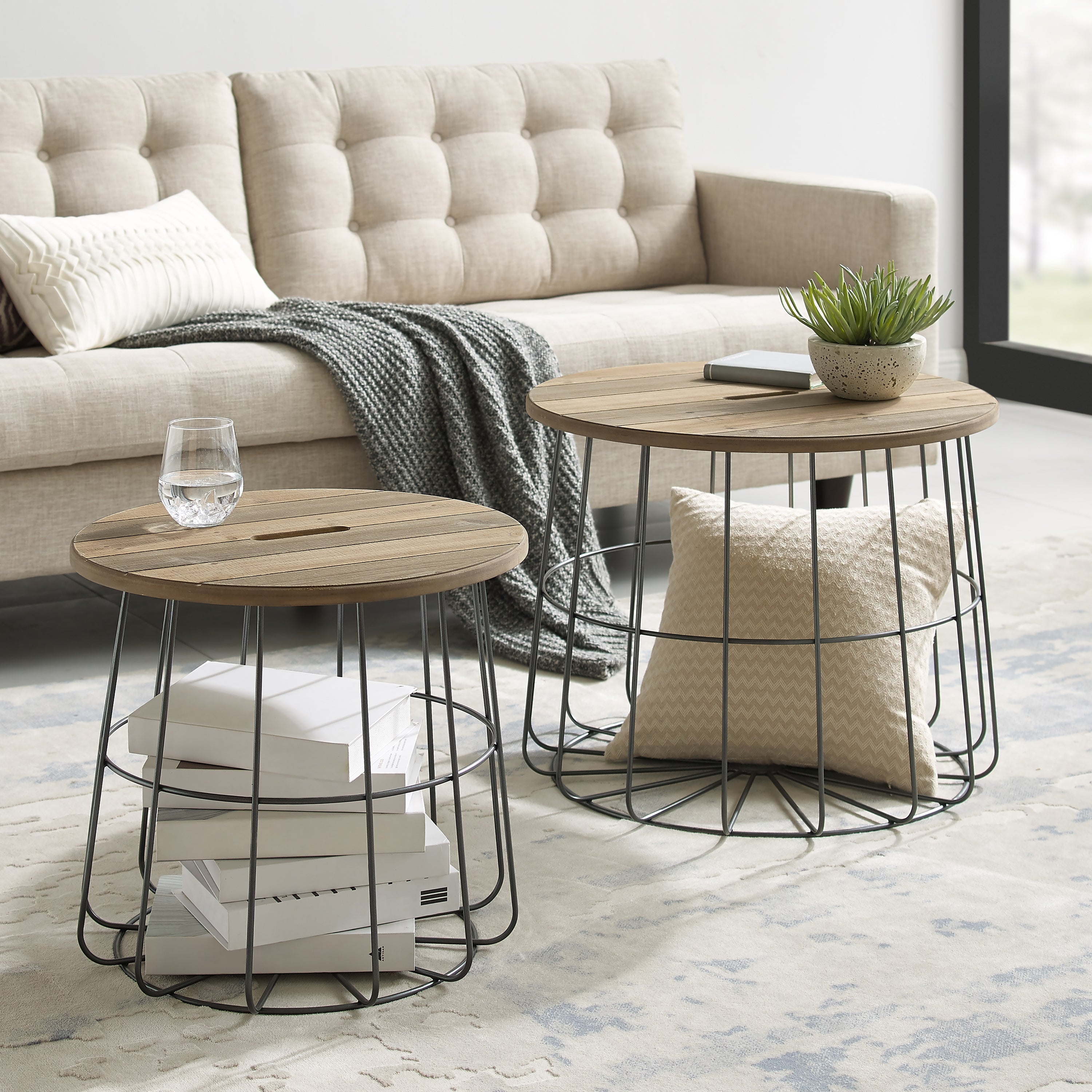 Picture of: Berwick Metal And Wood Basket Nesting Tables Overstock 30105583