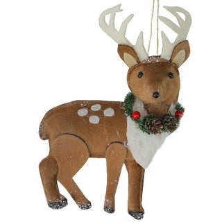 """8"""" Brown and White Spot Reindeer with Antlers Christmas Ornament"""