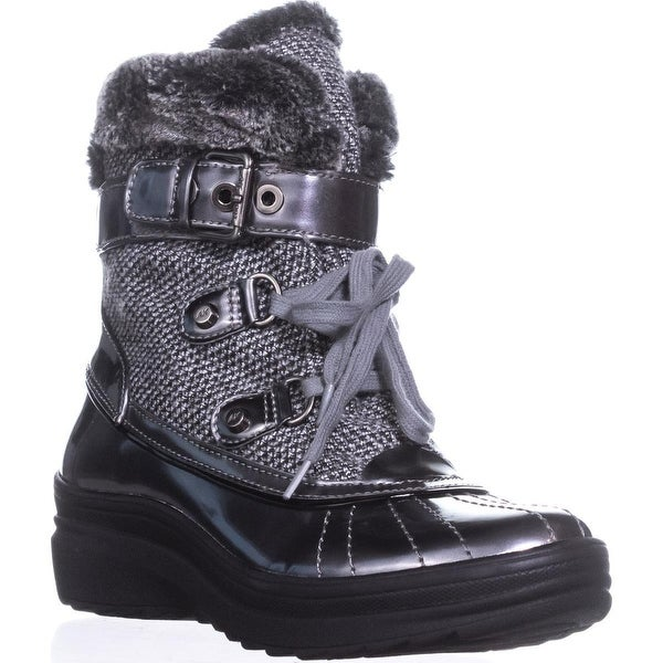 Anne Klein Gallup Lace-up Snow Boots, Grey Multi