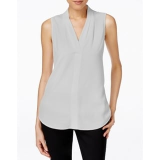 Calvin Klein NEW Light Gray Women Size Medium M V-Neck Sleeveless Blouse