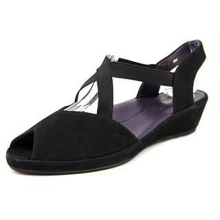 Vaneli Dolby Women W Open Toe Suede Black Wedge Sandal