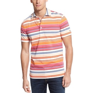 Tommy Hilfiger Custom Fit Polo Shirt Small S Bermuda Orange Striped