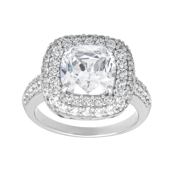 Cocktail Ring with 8 1/2 ct Cubic Zirconia in Sterling Silver - White