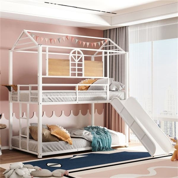 Aoolive Twin Over Twin Metal Bunk Bed Metal Housebed With Slide Overstock 33788846