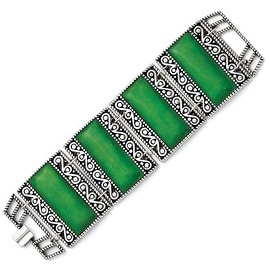 Chisel Stainless Steel Synthetic Jade Antiqued Bracelet