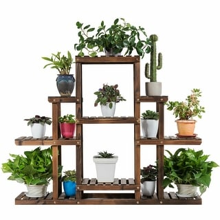 Gymax 6-Tier Flower Wood Stand Plant Display Rack Multifunctional Storage Shelf - as pics
