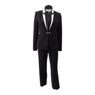 Tahari ASL Women's Petite Contrast-Collar Hardware Pantsuit (2P, Black/Ivory) - Black/Ivory - 2p