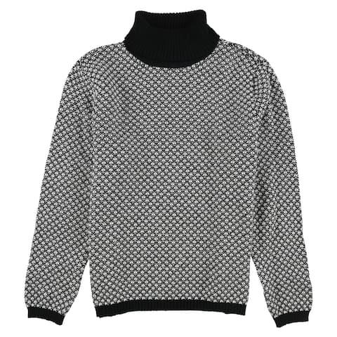 Karen Scott Womens Textured Turtleneck Pullover Sweater, Black, PL