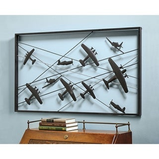 """Vintage Airplanes Metal Wall Art - 42"""" wide x 24"""" high - 42 in. x 24 in."""