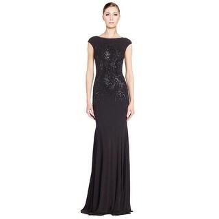 David Meister Cap Sleeve Tonal Sequined Jersey Evening Gown Dress - 2