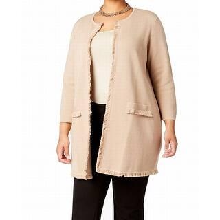 Quick View.  54.87. Kasper Beige Women s Size 1X Plus Fray Topper Cardigan  Sweater 9aa149655