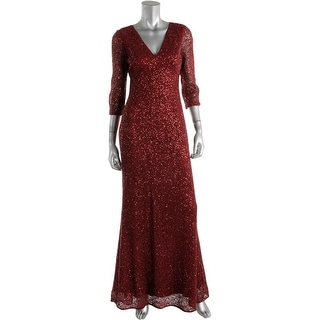 Kay Unger Womens Evening Dress Lace Overlay Sequined