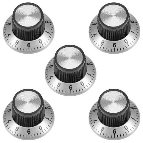 5Pcs 24x14mm Aluminium Alloy Potentiometer Rotary Knob Cap Type Silver Tone - 5pcs-S
